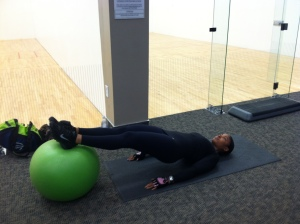 Stability ball hamstring curl (finish)